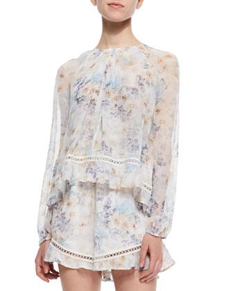 Floral-Print Layered Short Jumpsuit