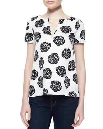 Kara Rose-Print Simple Tee