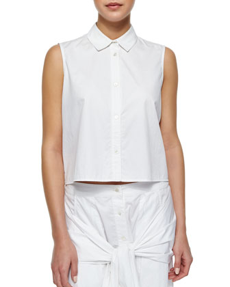 Cropped Sleeveless Poplin Blouse