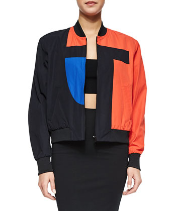 T-Logo Tech Poplin Bomber Jacket, Ribbed Ponte Cross-Back Crop Top & Luxe ...