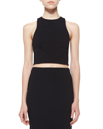 Ribbed Ponte Cross-Back Crop Top