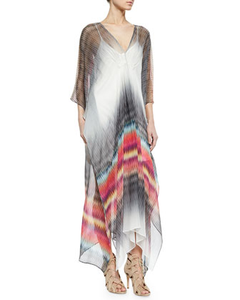 Printed Silk Caftan Maxi Dress