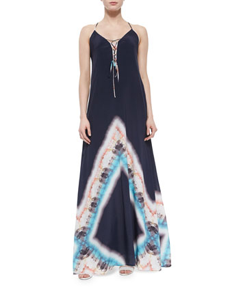 Tie-Dye Silk Maxi Dress