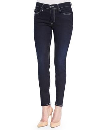 Hallie Contrast-Trim Skinny Jeans