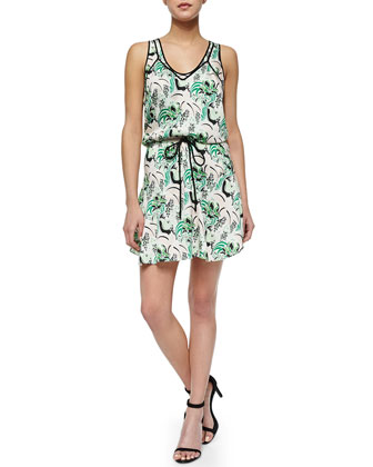 Printed Drawstring Stretch-Silk Dress
