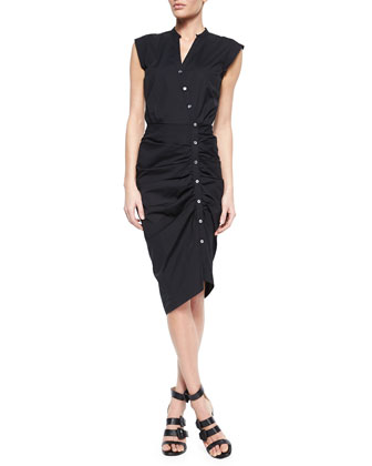 Ruched Asymmetric Cap-Sleeve Shirtdress