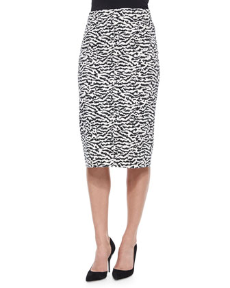 Printed Stretch-Silk Crop Top & Animal-Print Pique Pencil Skirt