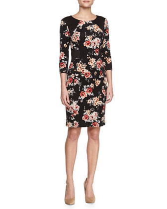 3/4-Sleeve Floral-Print Sheath Dress