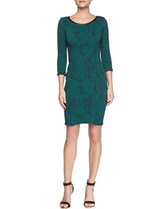 3/4-Sleeve Reptile-Print Sheath Dress