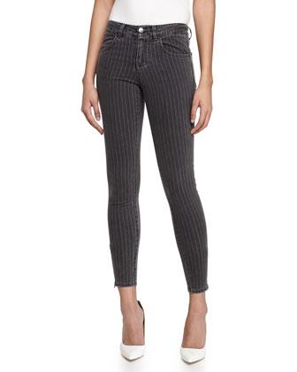 Cropped Pinstripe Skinny Jeans W/ Zipper Cuffs