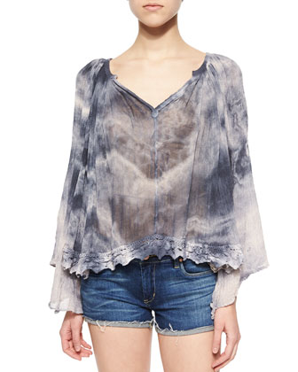 Lace-Hem Cotton Tie-Dye Top