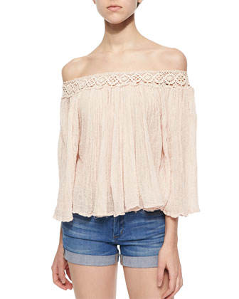 Off-The-Shoulder Crinkled Top