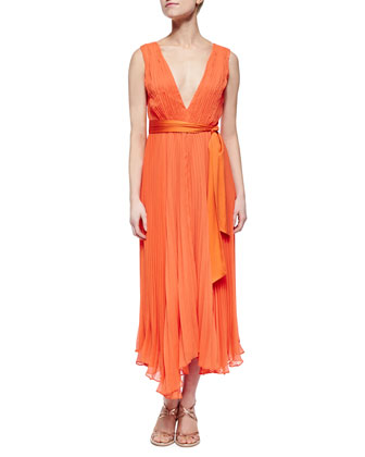 Kip Pleated Tie-Waist Midi Dress