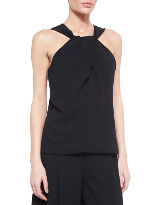 Crepe Twist-Front Sleeveless Top