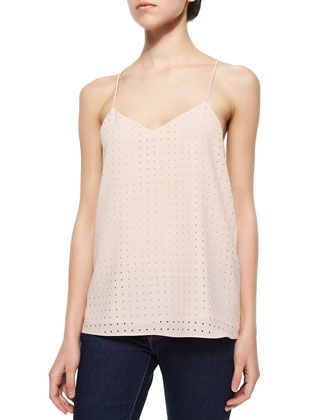 Windowpane Laser-Cut Camisole, Blush