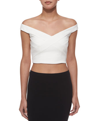 Ponte Off-the-Shoulder Crop Top