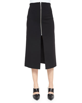 Long Front-Zip Maxi Skirt