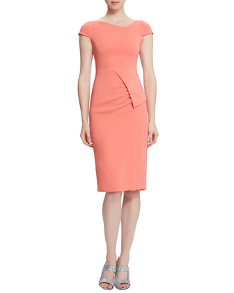 Trista Contoured Dress, Pink Enamel
