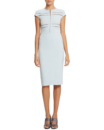 Brianna Zip-Front Sheath Dress, Watercolor Blue