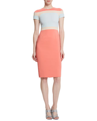Trinity Colorblock Body-Conscious Dress, Watercolor