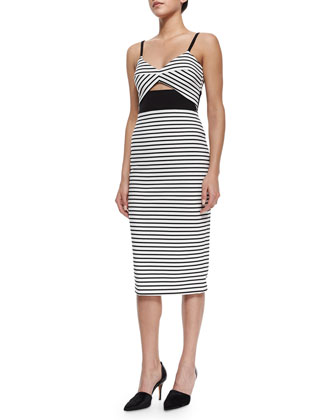 Fitted Breton Striped Cutout Dress