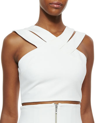 Ponte Double-Strap Crop Top
