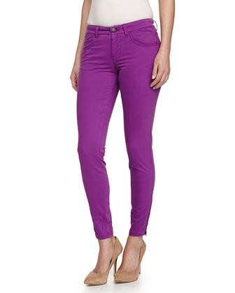 Zipper-Cuff Skinny Jeans, Purple