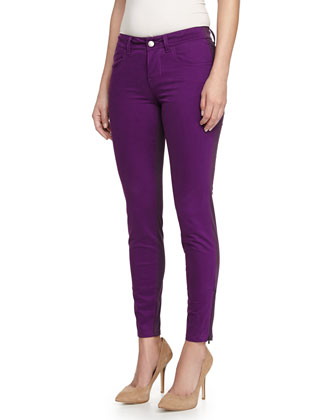Colorblock Zipper-Cuff Skinny Jeans, Purple