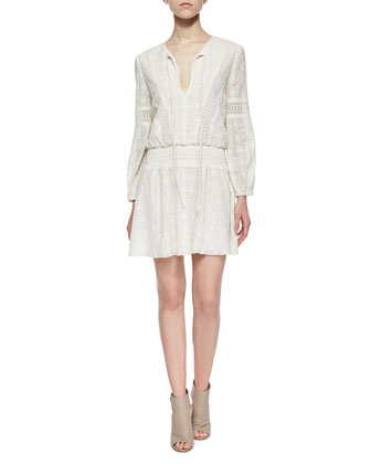 Margaux Embroidered Smock-Waist Dress