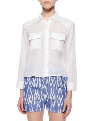 Maire Crinkled Voile Cargo Blouse & High-Waist Striped Pleated Shorts