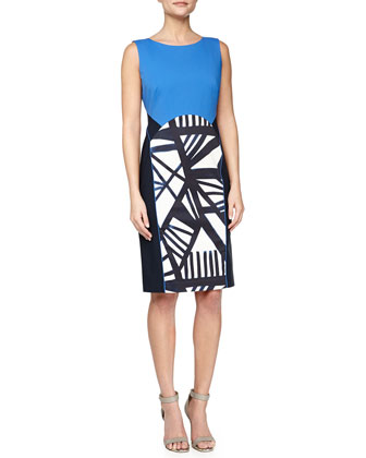 Dixie Sleeveless Sheath Dress, Ink/Multicolor