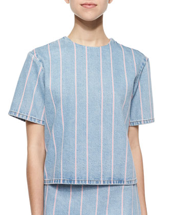 Short-Sleeve Striped Denim Top