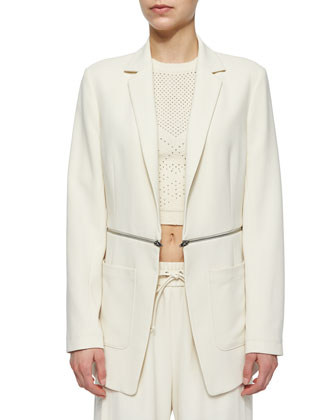Zip-Waist Suiting Blazer, Perforated Knit Crop Top & Side-Slit Wide-Leg ...