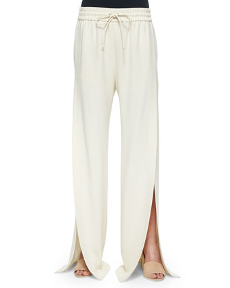 Side-Slit Wide-Leg Suit Pants