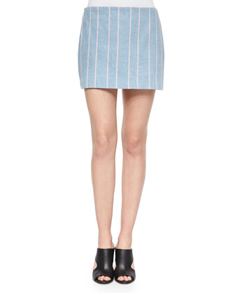 Woven Striped Denim Miniskirt