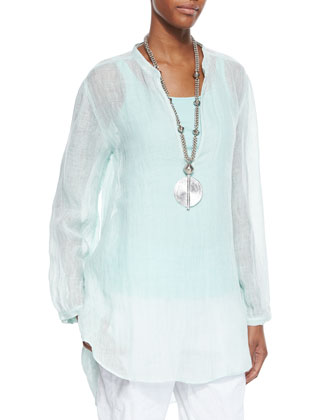 Long-Sleeve Split-Neck Tunic, Organic Cotton Slim Tank & Linen-Blend Cargo ...