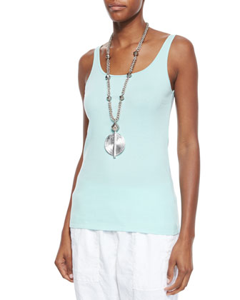 Long-Sleeve Mesh Box Top, Organic Cotton Slim Tank & Oval Organic Linen ...