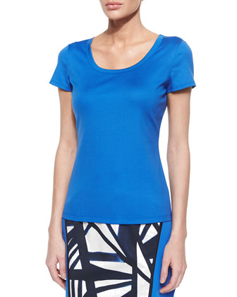 Cotton-Stretch Basic Tee, Riviera