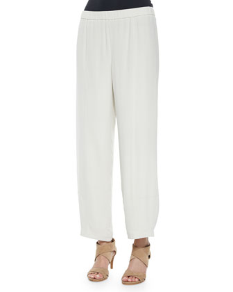 Silk Lantern Ankle Pants, Bone, Petite