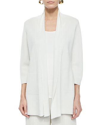 3/4-Sleeve Silk-Cotton Interlock Cardigan, Bone, Women's