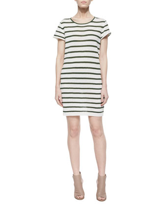 Tate Cargo-Pocket Cocoon Jacket & Rozlynn Striped Knit Dress
