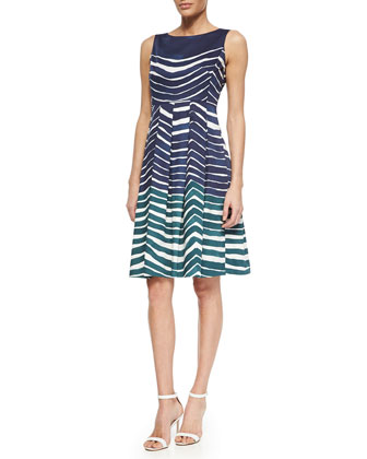 Zoe Sleeveless Striped Poplin Dress, Blue/Teal/White