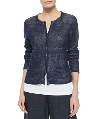 Organic Linen Short Jacket, Long Slim Camisole, Jacquard Borders Scarf & ...