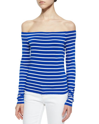 Striped Off-the-Shoulder Tee, Cobalt