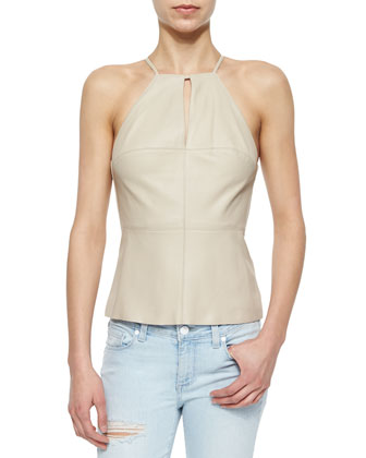 Elsa Leather High-Neck Top, Sand