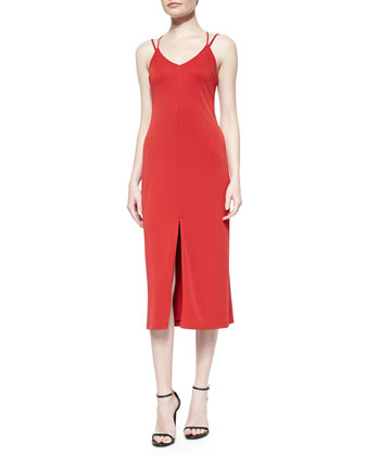 Multi-Strap Slip Dress, Pepper Red