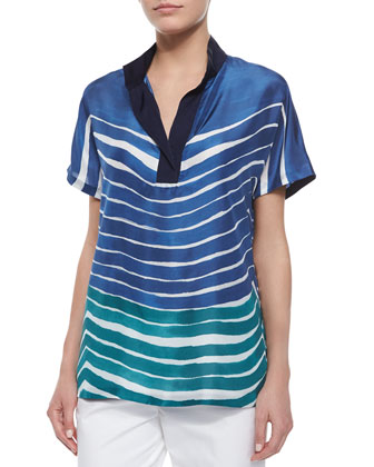 Reyn Short-Sleeve Printed Silk Blouse & Cropped Fundamental Bi-Stretch Pants