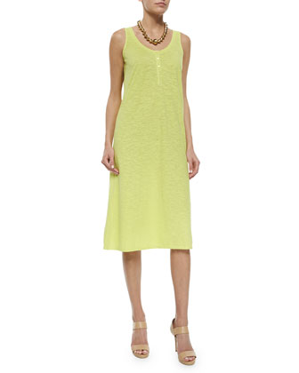 Hemp Twist Henley Tank Dress, Honeydew, Petite