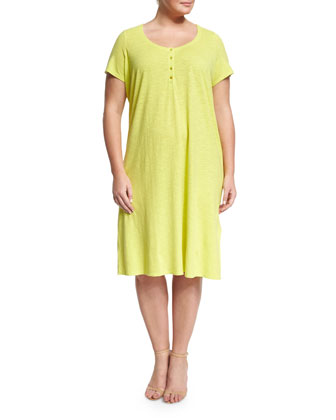 Hemp Twist Henley Tank Dress, Honeydew, Women's