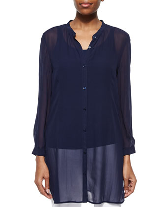 Long Silk Georgette Top, Midnight, Women's